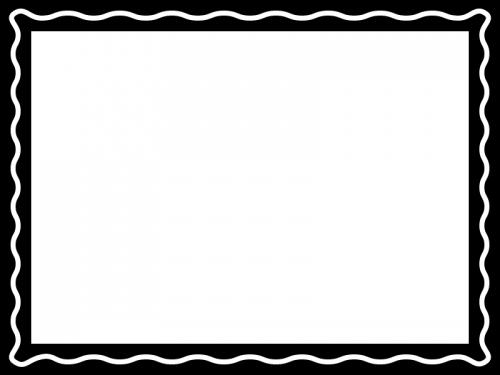白黒の波線のシンプルフレーム飾り枠イラスト