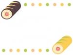 ロールケーキの恵方巻きとふんわりドットのフレーム飾り枠イラスト