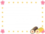 ロールケーキの恵方巻きと梅の花のフレーム飾り枠イラスト