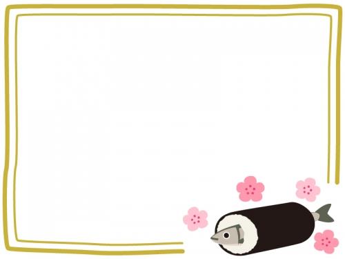 いわしの恵方巻きと梅の花の二重線フレーム飾り枠イラスト