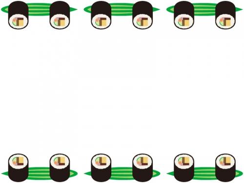 恵方巻き・太巻きと笹の葉の上下フレーム飾り枠イラスト
