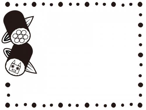 鬼と花の恵方巻きの白黒ドットフレーム飾り枠イラスト