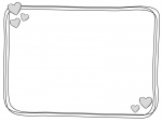 白黒の手書きハートの囲み枠フレームイラスト