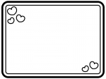 白黒のかわいいハートの囲み枠フレームイラスト