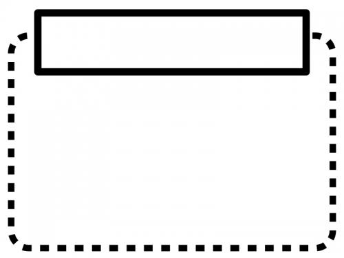 白黒の点線の見出し付きフレーム飾り枠イラスト