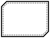白黒の点線の多角形フレーム飾り枠イラスト