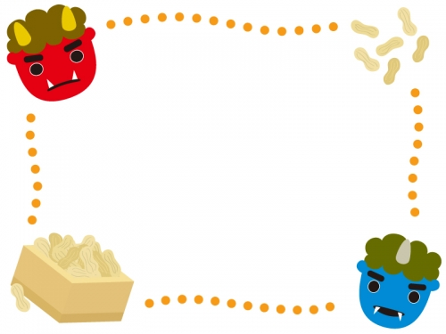 赤鬼青鬼と落花生のオレンジ色の点線節分フレーム飾り枠イラスト