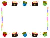 赤鬼青鬼と豆まきの上下節分フレーム飾り枠イラスト