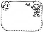 鬼と豆まきをする子供の白黒節分フレーム飾り枠イラスト