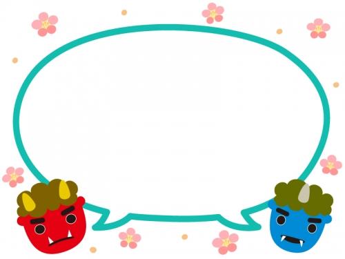 赤鬼青鬼と梅の花の緑色吹き出し節分フレーム飾り枠イラスト