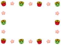赤鬼緑鬼と梅の花の囲み節分フレーム飾り枠イラスト