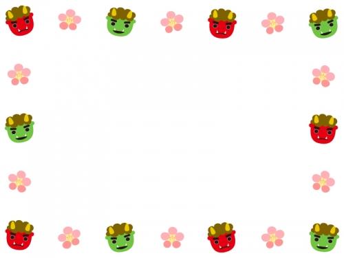 赤鬼緑鬼と梅の花の囲み節分フレーム飾り枠イラスト 無料イラスト