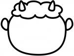 鬼の顔の白黒節分フレーム飾り枠イラスト