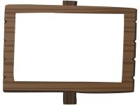 焦げ茶色の立て看板のフレーム飾り枠イラスト