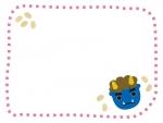 節分・青鬼の点線フレーム飾り枠イラスト