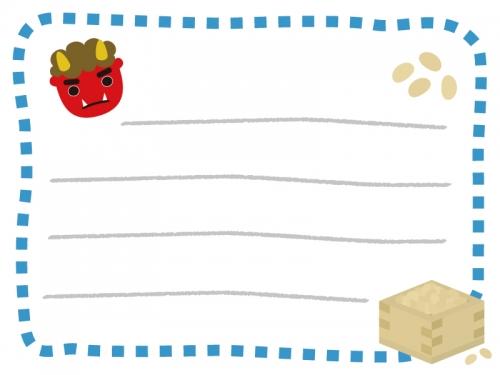 節分・赤鬼のメモ帳フレーム飾り枠イラスト