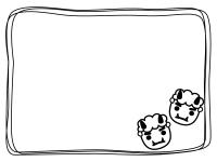 節分・手書き線の白黒フレーム飾り枠イラスト