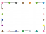 カラフルな丸の手書き線フレーム飾り枠イラスト