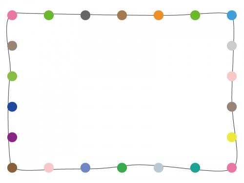 カラフルな丸の手書き線フレーム飾り枠イラスト 無料イラスト かわいい
