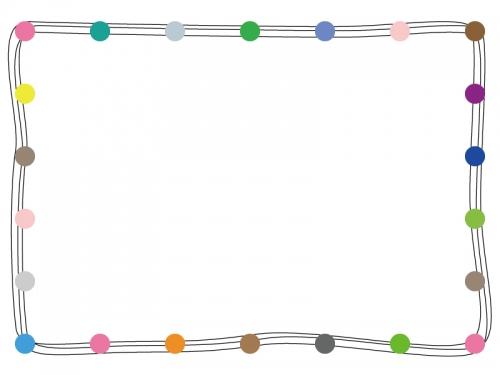 カラフルな丸の手書き線フレーム飾り枠イラスト02