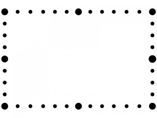 白黒の丸で囲ったシンプルなフレーム飾り枠イラスト