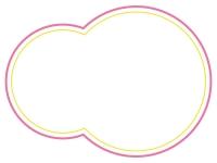 ピンクと黄色の二重線の丸型フレーム飾り枠イラスト