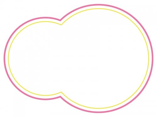 ピンクと黄色の二重線の丸型フレーム飾り枠イラスト 無料イラスト