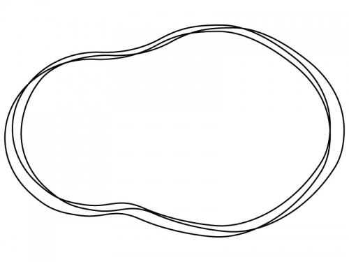 白黒の手書き風のひょうたん型フレーム飾り枠イラスト