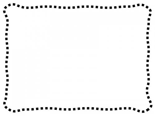 白黒のシンプルな波の点線のフレーム飾り枠イラスト