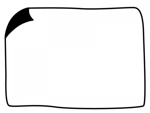 白黒の手書き風角がめくれているフレーム飾り枠イラスト
