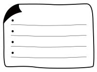 白黒の角がめくれているメモ帳フレーム飾り枠イラスト