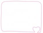 ピンク色のハートの手書き風フレーム飾り枠イラスト