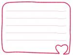 赤いハートの手書き風メモ帳フレーム飾り枠イラスト