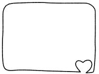 白黒のハートの手書き風フレーム飾り枠イラスト