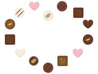 ハート型に並んだチョコトリュフのフレーム飾り枠イラスト