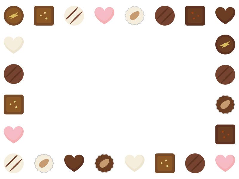 チョコレートトリュフの囲みフレーム飾り枠イラスト 無料イラスト かわいいフリー素材集 フレームぽけっと