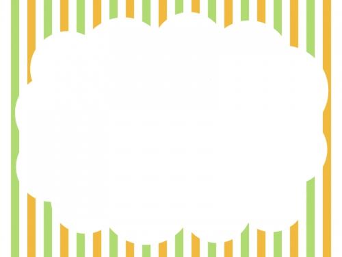 ストライプ背景のもこもこフレーム飾り枠イラスト