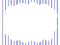 ストライプ背景のもこもこフレーム飾り枠イラスト02