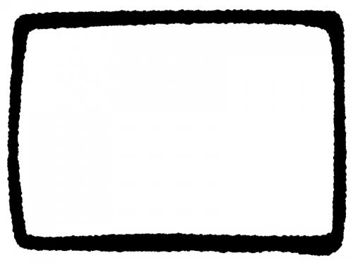 白黒の手書き風の太枠フレームイラスト