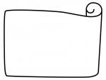 白黒のシンプルな巻紙のフレーム飾り枠イラスト02