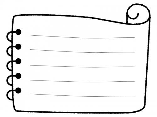 白黒の巻紙のメモ帳フレーム飾り枠イラスト