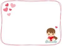 ハートと女性のバレンタインフレーム飾り枠イラスト
