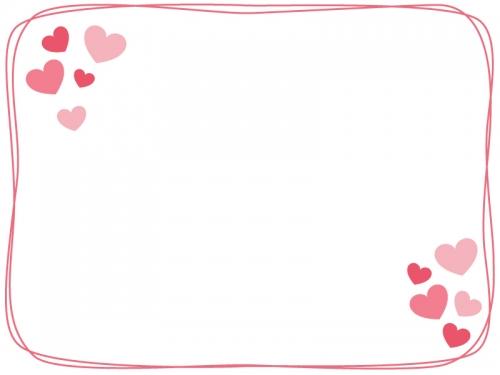 ハートと手書き線のピンク色のフレーム飾り枠イラスト