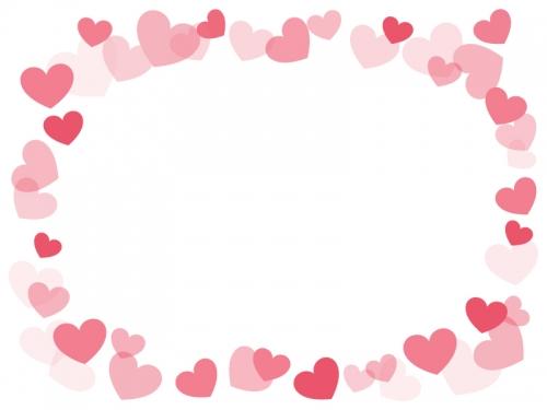 弾け飛ぶピンクのハートの囲みフレーム飾り枠イラスト