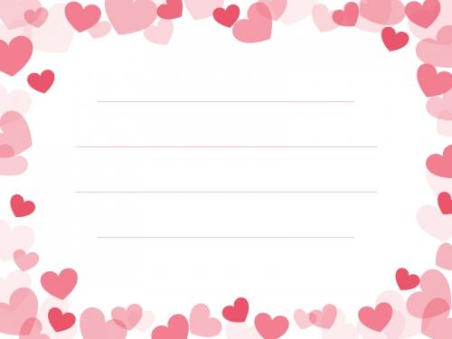 弾け飛ぶピンクのハートのメモ帳フレーム飾り枠イラスト