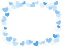 弾け飛ぶ青色ハートの囲みフレーム飾り枠イラスト