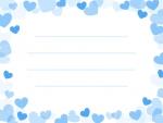 弾け飛ぶ青色ハートのメモ帳フレーム飾り枠イラスト
