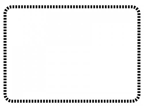 白黒の点線の角丸フレーム飾り枠イラスト