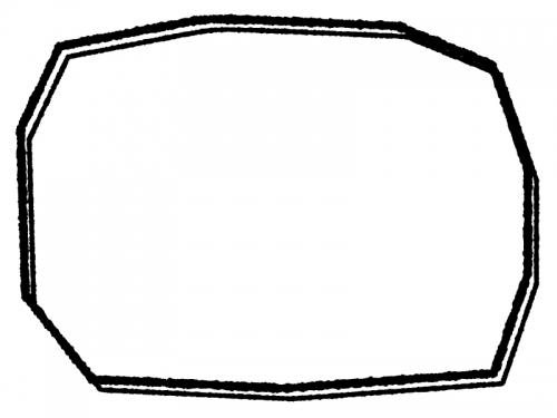 白黒の手書き風の多角形フレーム飾り枠イラスト