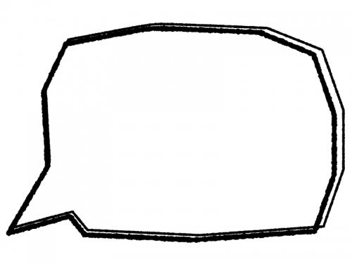 白黒の手書き風多角形の吹き出しフレーム飾り枠イラスト